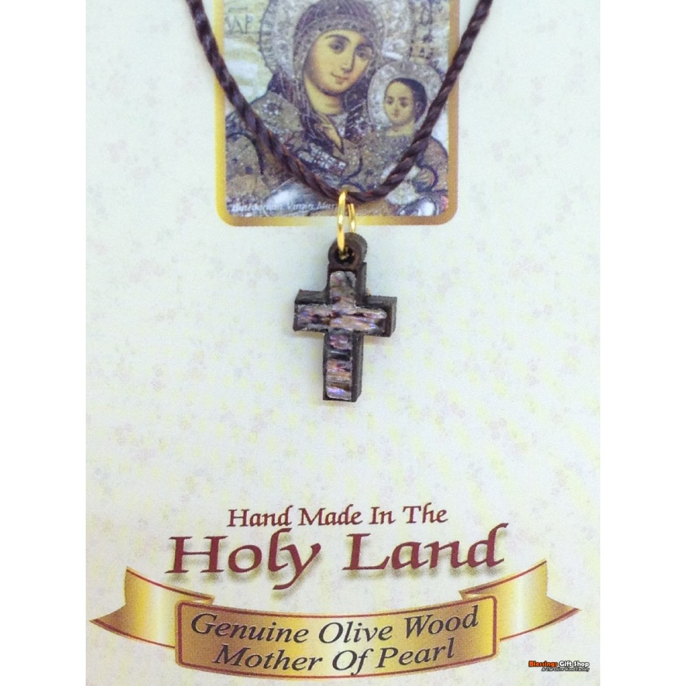 Olive Wood And Mother of Pearl Cross-Pendant