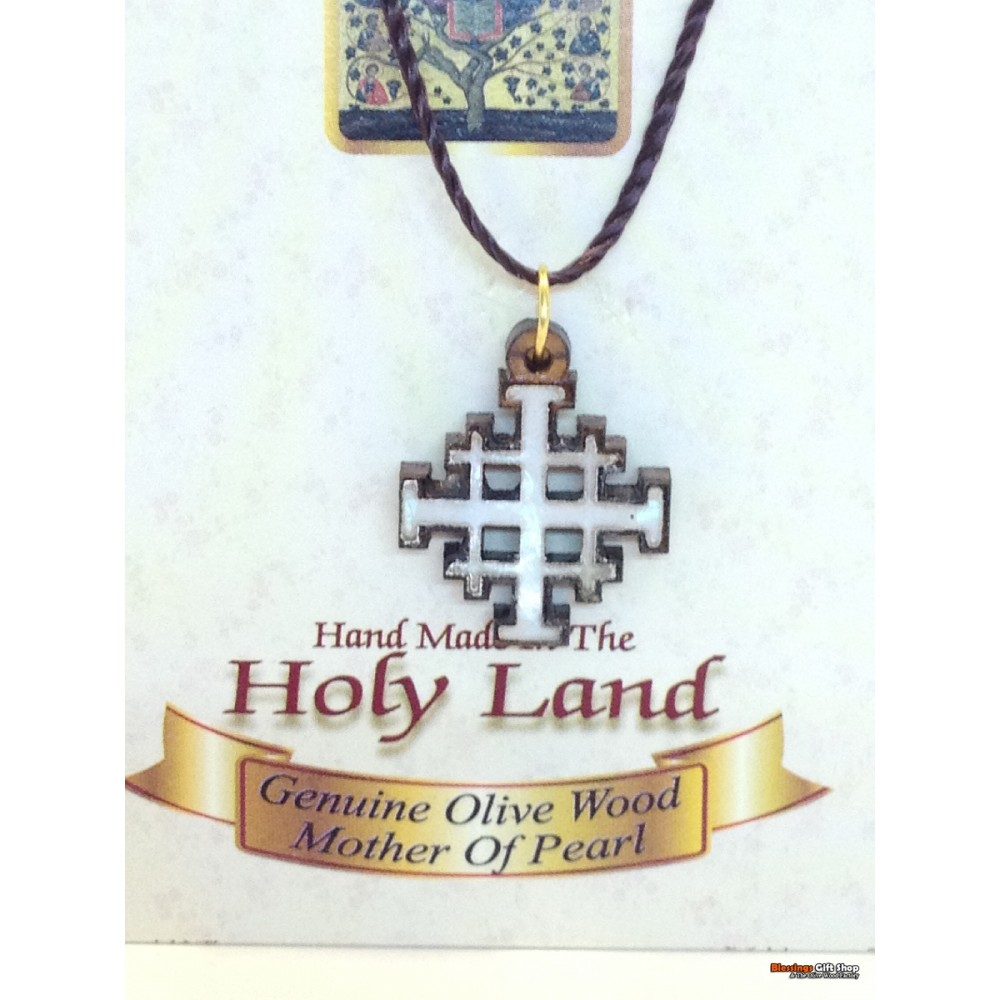 Olive Wood And Mother of Pearl Jerusalem Cross-Pendant