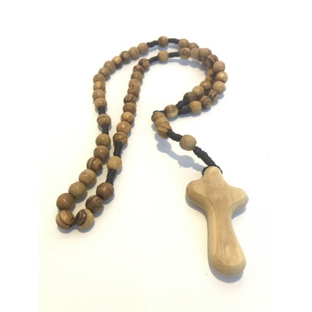 Olive Wood Tau Rosary