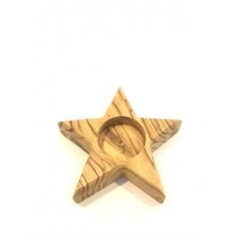 Olive Wood Star Candle Holder