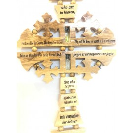 Olive wood Our Father Cross