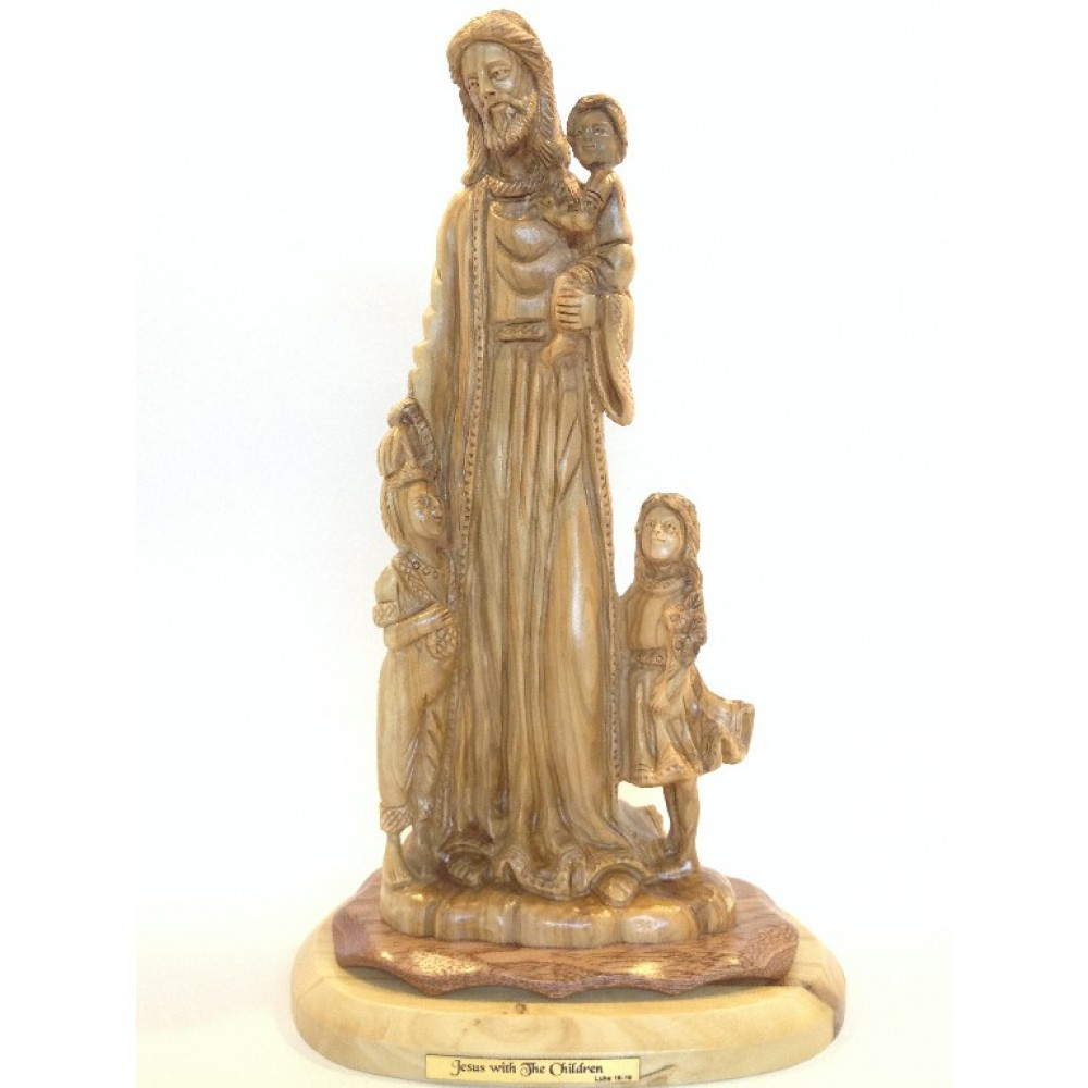 Olive Wood Jesus and Children-Master Piece
