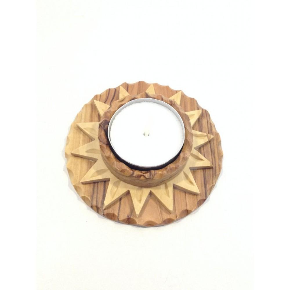 Olive Wood Candle Holder-Star of Bethlehem 14 points
