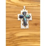 Mother of Pearl and Paua Shell Cross-Pendant