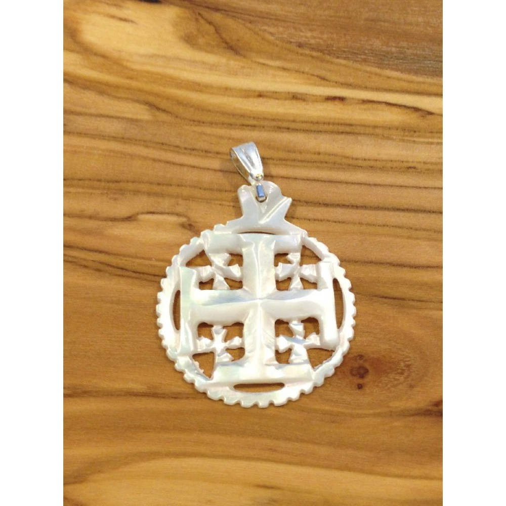 Mother of Pearl Jerusalem Cross-Pendant
