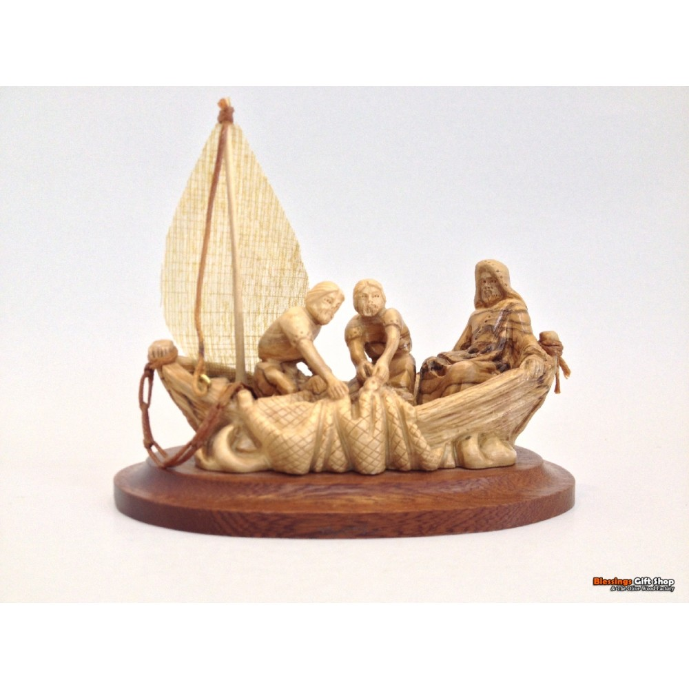 Olive Wood Boat -Jesus and Fishermen