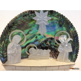 Mother Of Pearl and Paua Shell Holy Family
