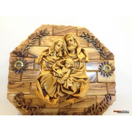 Olive Wood Holy Family Wall Plaque-Medium